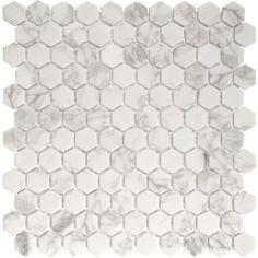 Madrid Ceramics Onix x Glass Mosaic Tile in Statuario Malla Ceramic Subway Tile, Glass Subway Tile, Glass Mosaic Tiles, Wall Tiles, Glass Installation, Stone Sink, Tiles Online, Vintage Bathrooms, Carrara