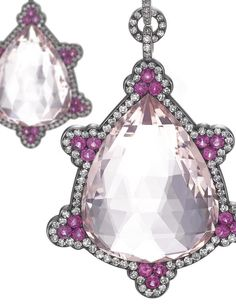 PAIR OF SPECTACULAR MORGANITE, RUBY AND DIAMOND PENDENT EARRINGS, JAR. Each suspending a pendeloque morganite embellished with circular-cut ruby clusters within a border of single-cut diamonds, signed JAR, French assay marks, case by JAR. Estimate 132,000 - 158,000 USD / LOT SOLD 405,163 USD [C. PARIS BIJOUX, ECRIN DE MADAME M-R & À DIVERS AMATEURS - 13 / 14 December 2010 - Paris] ///// Estimate 400,000 - 545,000 USD / LOT SOLD 453,637 USD [S. GE. - 12 NOV. 2014] #JarParis…