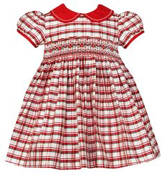 Anavini Baby / Toddler Girls Christmas Plaid Smocked Miranda Silk Dress - Red Collar