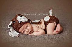 Crochet NEWBORN Little Puppy Dog Set Hat and by FaithandSparrows, $30.00