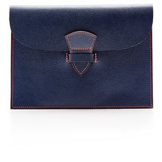 Maison Thomas Medium Leather Promenade Clutch in Marine and Orange (920 PEN) ❤ liked on Polyvore featuring bags, handbags, clutches, leather handbags, envelope clutch, envelope clutch bag, evening handbags and evening purse