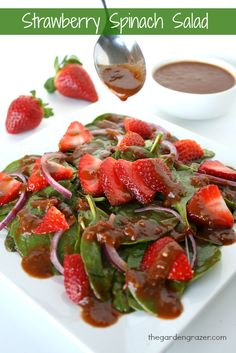 Sweet strawberries and tender spinach pair amazingly with this tangy balsamic vinaigrette! A match made in heaven!