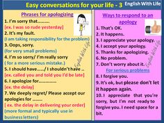 Easy conversations for your life 3 - Phrases for apologizing - Ways to respond to apology