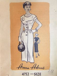 Early 1950s Mail Order Anne Adams 4752 DRESS by raggspatternstash, $27.00