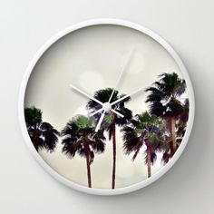 Wall Clock Coconut Sable Palm Trees Beach Surf Decor by NatureCity, $50.00