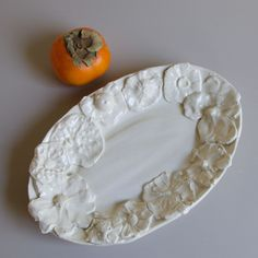 Frances Palmer Pottery: Small Floral Oval Platter, Hand Thrown White Earthenware