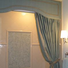 Cornice boards for shower curtain | Pinned by Candace Thompson