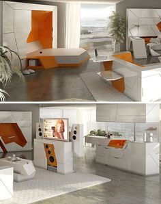 Future Home, Futuristic Room, Boxetti, Rolands Landsbergs, Futuristic Interior… Built In Furniture, Smart Furniture, Modular Furniture, Space Saving Furniture, Furniture Design, Compact Furniture, Futuristic Interior, Futuristic Furniture, Convertible Furniture