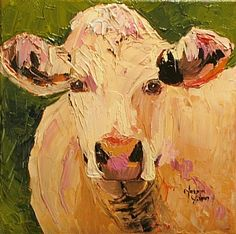 A Charolais painting.....this makes me think of my Dad, because he had these cattle. He loved his cattle, and this breed of cattle is really beautiful.
