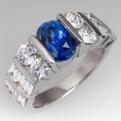 Blue sapphire & channel set diamond gold ring