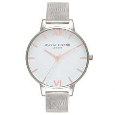 White Dial Rose Gold & Silver Mesh | Olivia Burton London