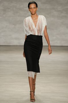 Lace asymmetrical top and long black pencil skirt #minimalist #fashion #style