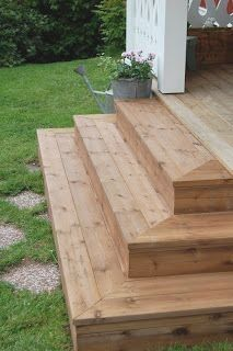 Outdoor Deck Ideas for Better Backyard Entertaining – 2019 - Deck ideas - Trend Entertaining Ideas 2019 Patio Steps, Outdoor Steps, Steps For Deck, Backyard Patio Designs, Backyard Landscaping, Backyard Deck Ideas On A Budget, Porch Stairs, Covered Front Porches, Front Deck