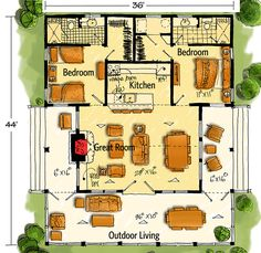 Bunkhouse Plan with Options Floor Master Suite Cottage Country Mountain Vacation Wrap Around Porch Architectural Designs Craftsman House Plans, Country House Plans, Modern House Plans, Small House Plans, Cabin Floor Plans, Cottage Plan, Cottage Living, Living Room, Farmhouse Plans
