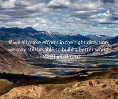 """""""If we all make efforts in the right direction, we may still be able to build a better world"""" ~ Matthieu Ricard, Planet Love, Build A Better World, Worlds Of Fun, Art School, Planets, Mandala, Community, Artist"""