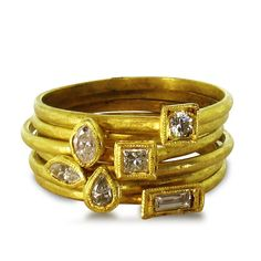 14K Recycled Yellow Gold Stack Rings, each sold separately