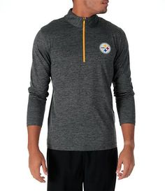 729c5bfe8 Men s Majestic Pittsburgh Steelers NFL Intimidating Half-Zip Training Shirt