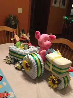 Tractor and Wagon Diaper Cake