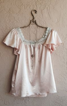 Romantic Bohemian Nude Blush Pink Silk satin ruffle by BohoAngels, $45.00