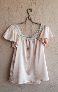 Romantic Bohemian Nude Blush Pink Silk satin ruffle