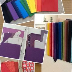 Organize paper scraps with color coordinated pocket folders....