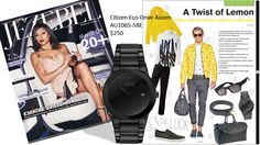 The classic AXIOM in black...with a twist of lemon, featured in JEZEBEL Magazine.  Citizen Eco-Drive Axiom featured (AU1065-58E) $250