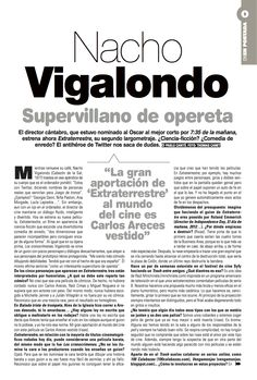 Entrevista a Nacho Vigalondo, página 2. Tema de portada del suplemento de El País On Madrid.