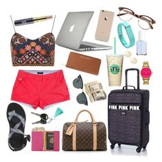"""""""my travel outfit and essentials"""" by libster4404 ❤ liked on Polyvore featuring Louis Vuitton, Victoria's Secret PINK, Royce Leather, Chaco, Tiffany & Co., Belpearl, Kate Spade, Ray-Ban, Speck and MICHAEL Michael Kors"""