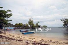 Stock Photo : Fisherman boats in Sibu island of Johor, Malaysia