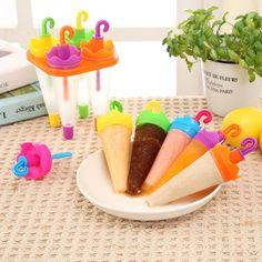 4/6pcs Umbrella Shape DIY Ice Cream Pops Frozen Juice Popsicle Party Mould Molds Children Maker Creative E2shopping