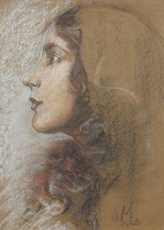 Austin Osman Spare, 'Portrait of Ada Millicent Pain', pastel