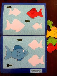 Desert Crafter: More File Folder Games for Preschoolers. think it has a link to printable,. would be good for left and right game Fish Activities, Kids Learning Activities, Educational Activities, Preschool Crafts, Fun Learning, Toddler Activities, Preschool Activities, File Folder Activities, File Folder Games