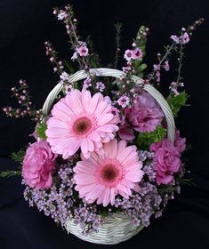 Pink Basket of Gerberas & Roses-A simple yet gorgeous little basket of pink Gerberas and Roses, adorned with complimenting filler flowers and greenery. Real Flowers, Pretty Flowers, Rose Centerpieces, Arte Floral, Flower Delivery, Flower Crafts, Floral Arrangements, Daisy, Floral Wreath