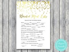 mad libs advice for newlywed gold bridal shower game