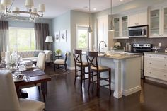 Silver Sage wall- RH.. love the sofa in the kitchen