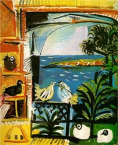 Image 4 Studio (Pigeons)  1957 at Cannes...Picasso painting like Matisse (homage after Matisse's death)