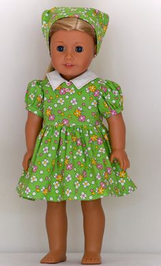 American Girl Doll Clothing. Vintage style gardening dress with apron, kerchief and hat by Simply 18 Inches.