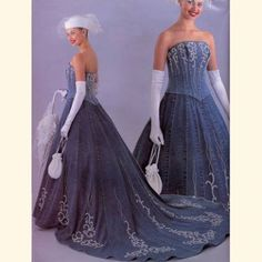 Denim Wedding Dress with lace detail  Country/western wedding ideas ...