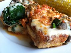 A Taste of Home Cooking: Tofu Parm with Spinach and Mushrooms
