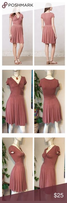 """Anthropologie Dolan Blush Pink Knotted Taya Dress Anthropologie Dolan Women's Blush Pink Knotted Taya Dress Jersey Knit Sz XS           Approx measurements laid flat- (double where necessary)  Shoulder to shoulder: 13"""" Underarm to underarm: 13.5"""" Waist: 12.5"""" Hips: free Shoulder to hem: 35"""" Sleeve: 4.5""""  Like New! (posh only) Anthropologie Dresses"""
