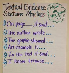 Textual evidence sentence starters