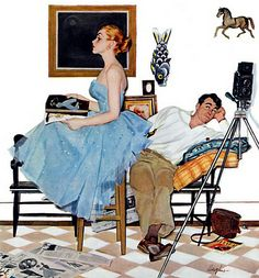 """Illustration for the story """"One Way Affair"""" by George Hughes in the Saturday Evening Post in September 1955 Retro Kunst, Retro Art, Romance Art, Vintage Romance, Vintage Prints, Vintage Posters, Norman Rockwell Art, Vintage Illustration Art, Saturday Evening Post"""