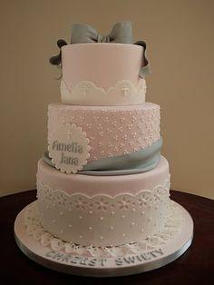 Baby Shower Cake grey and pink baby shower cake Cupcakes, Cupcake Cakes, Beautiful Cakes, Amazing Cakes, Christening Cake Girls, Religious Cakes, Confirmation Cakes, Grey Baby Shower, Communion Cakes
