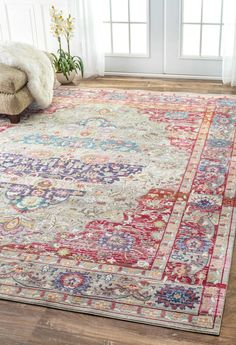 "Features: -Material: 100% Polyester. Technique: -Machine woven. Primary Color: -Multi-Colored. Type of Backing: -Latex. Product Type: -Area Rug. Dimensions: Rug Size 5'3"" x 7'7"" - Pile Height: -"