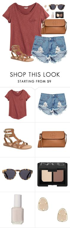 """""""burnt orange"""" by classically-preppy ❤ liked on Polyvore featuring H&M, Boohoo, Sam Edelman, Tory Burch, Illesteva, NARS Cosmetics, Essie and Kendra Scott"""