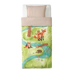 VANDRING RÄV Pussilakana + 1 tyynyliina IKEA Puuvillaa, joka tuntuu mukavan pehmeältä lapsen ihoa vasten.