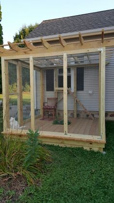 Catio for an indoor cat to get outside and enjoy nature safely. - Cevan Omar - Catio for an indoor cat to get outside and enjoy nature safely. Catio for an indoor cat to get outside and enjoy nature safely. Cat Playground, Playground Design, Cat Habitat, Cat Tree Plans, Cat Fence, Outdoor Cat Enclosure, Diy Cat Tree, Cat Run, Outdoor Cats