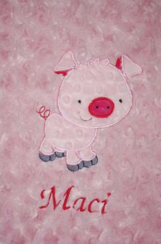 Piggie Applique added to any size minky blanket in my by LilCubHub