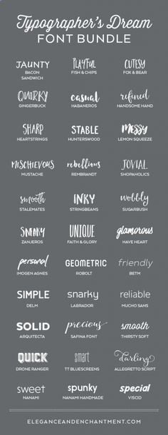 A typographer's dream font collection. 33 Fabulous Fonts for graphic design projects, web design, blogging, crafting, weddings, DIY projects and more. Includes script fonts, sans serif, serif, handwritten and calligraphy. #DIY #Crafts