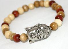 Buddha Bracelet, Wooden Beads & Antiqued Silver, Stacking, #armcandy #Buddha #style on Wanelo $8.00